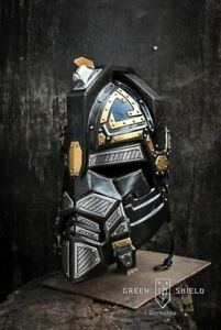 Medieval-Blackened-Steel-Brass-amp-Leather-LARP-Royal-Dwarven-Dwarf-Helmet