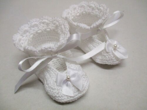 0-3mths Baby White Thread Crochet Shoes NEW DESIGN Susans Shell Shoes-Handmade