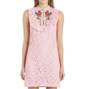 c69adbfd1 Details about NWT Gucci $2500 IT 44 US 8 Medium Pink Embroidered Rose Cluny  Lace Sheath Dress