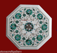 """12"""" Marble Coffee Table Top Malachite Pietra dura Inlay Art Work For Home Decor"""