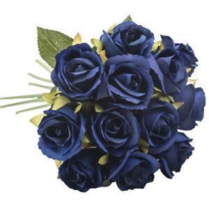 12-Heads-Artificial-Silk-Flowers-Bunch-Rose-Bouquet-Wedding-Home-Party-Decor
