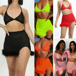 US-Women-Sexy-2-PCS-Bodycon-Two-Piece-Crop-Top-and-Skirt-Set-Lace-Up-Dress-Party