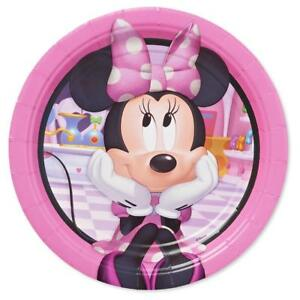 Image is loading Minnie-Mouse-Disney-Round-Dessert-Cake-Plates-8-  sc 1 st  eBay & Minnie Mouse Disney Round Dessert Cake Plates 8 Ct Birthday Party ...