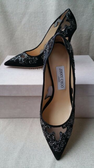 46c893f0d153 NEW AUTH Jimmy Choo 38.5 8 Karmel Pump Suede Black Crystal Rock Mesh Heels  Shoes