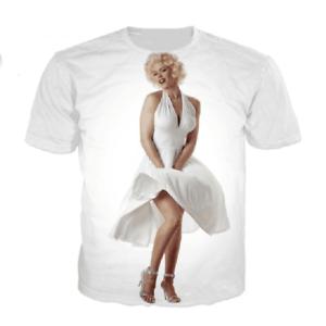 Men//Women/'s Marilyn Monroe White Print Short Sleeve Casual 3D T-Shirts BK09