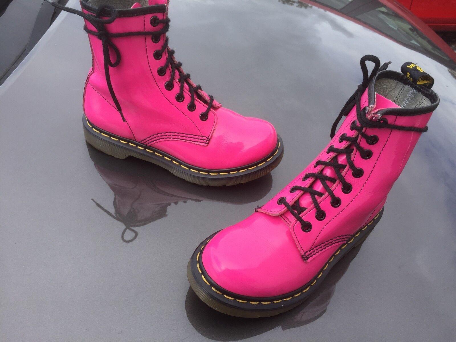 Dr Martens 1460 UK hot pink patent Leder Stiefel UK 1460 3 EU 36 4f26c4
