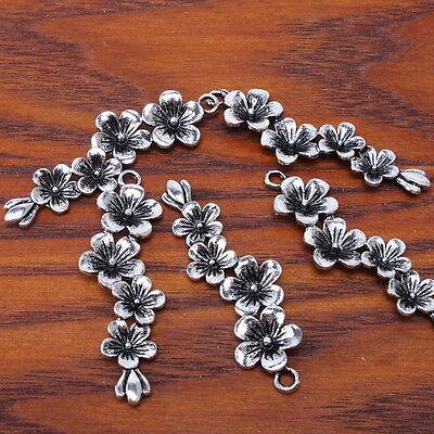 20pcs 140384 Plated Antique Silver Plum Flower Charms Pendants 19mm Findings