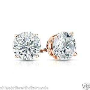 Image Is Loading 1 Ct Round Earrings Studs Solid 14k Rose
