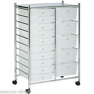 VonHaus-White-15-Drawer-Home-Office-Salon-Make-Up-Mobile-Storage-Trolley-Unit