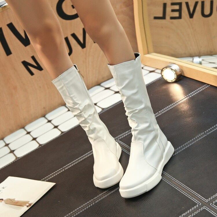 Fashion Women's Flat sneakers Round Toe Side Zip Riding Mid Calf Boots Plus Size