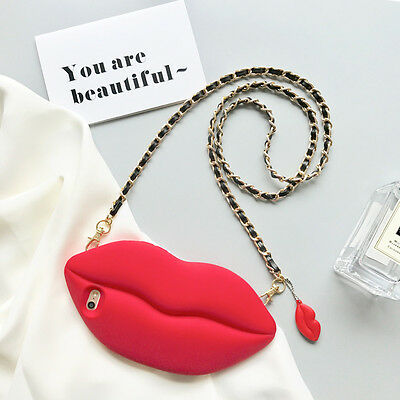 Fashion Big Red Lips Silicone Crossbody Case W Chain For iPhone6/6s/6P/6sP/7/7P