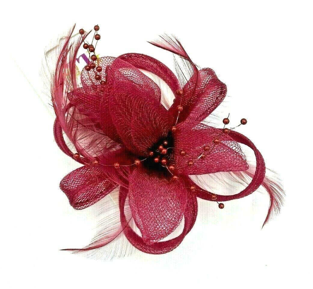 * New deep pink clip on hat fascinator corsage hair flower brooch wedding formal
