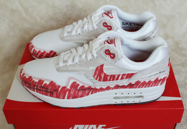 New Nike Air Max 1 Sketch to Shelf Tinker Red White Grey UK 8 US 9 EUR 42.5