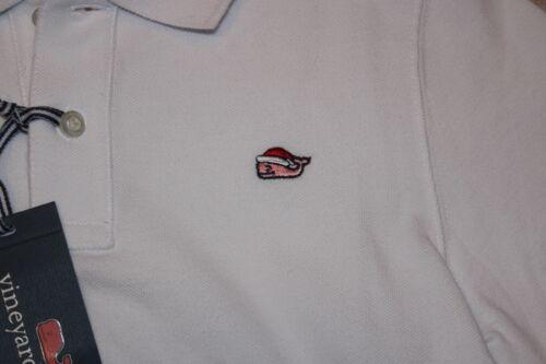 NWT Vineyard Vines Boys XL Santa Whale Embroidered Polo White Shirt 18