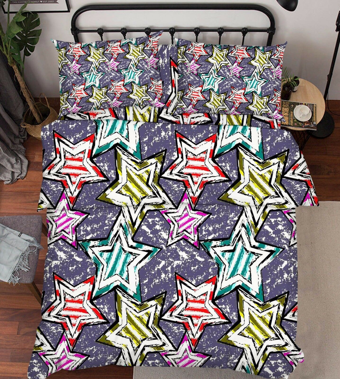 3D Stars Pattern Bed Pillowcases Quilt Duvet Cover Set Single Queen King Size AU