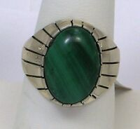 Navajo Indian Ring Malachite Oval Size 11 Sterling Silver Ray Jack
