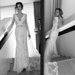 Vintage Sheath Lace V Neck Beach Wedding Dress Bridal Gown Open Back Long Sleeve Ebay