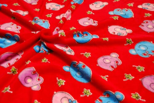LUXE double face Supersoft Cuddlesoft Tissu Polaire Matériau-éléphant rouge