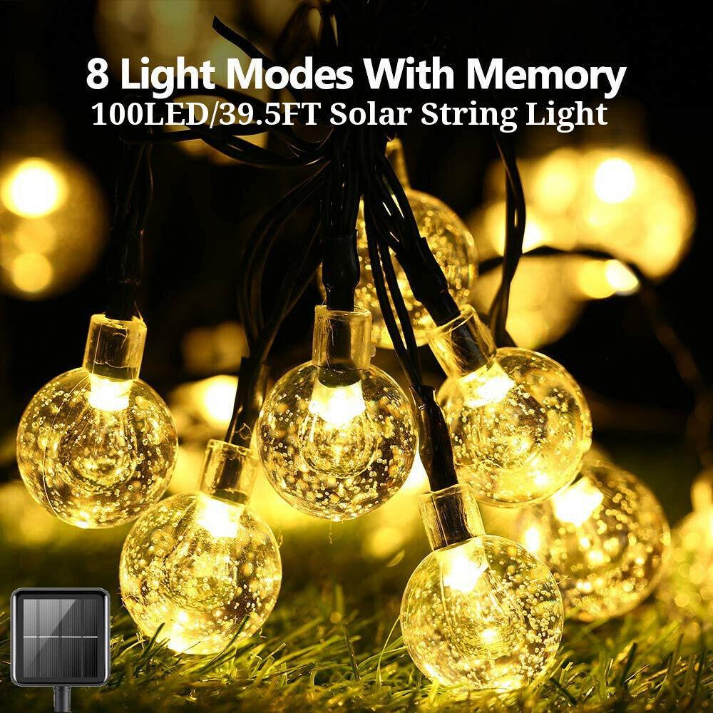 Solar Power 100 LED String Light Garden Path Yard Lamp Outdoor Waterproof Decor