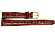 TIMEX 14MM BROWN CROCO GRAIN CLICK-ON GENUINE LEATHER WATCHBAND STRAP