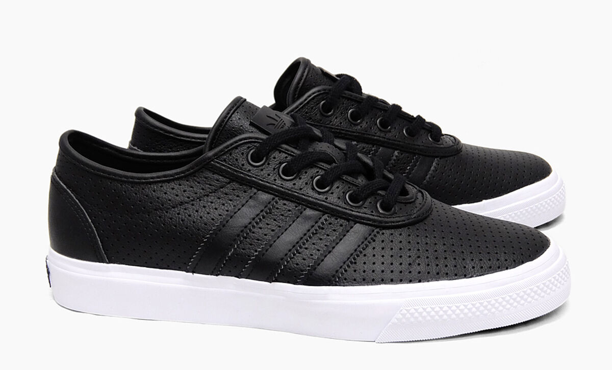 UK SIZE 7 - ADIDAS ORIGINALS ADI EASE CLASSIFIED LEATHER TRAINERS - BLACK