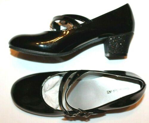 American Eagle Girls/' ARI Mary Jane Black Faux Patent Low Heel Dress Shoes