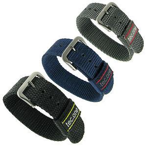 20mm-Tec-One-Sport-Strap-Wrap-Nylon-Buckle-Grey-Black-Blue-Watch-Band-SET-of-3