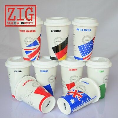 12 oz ceramic travel coffee mug porcelain NATION FLAGS cup double walls insulate