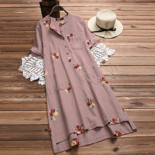 Donna button Blouse Tunica Top down 10 Dress Midi colletto Uk Baggy Stand Camicia 24 Zw8SqEEvF