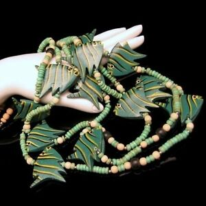 Vintage-Chunky-Necklace-3-Multi-Strands-Green-Striped-Wood-Fish-Beads