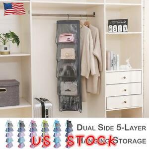 Tidy-Hanging-Handbag-Organizer-10Pocket-Shelf-Bag-Storage-Holder-Wardrobe-Closet