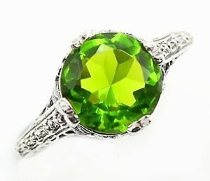 2CT-Peridot-925-Solid-Sterling-Silver-Victorian-Style-Ring-Jewelry-Sz-8-PR37