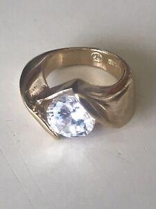 Vintage marked 18k HGE gold tone /& coral rhinestone  ring size 7