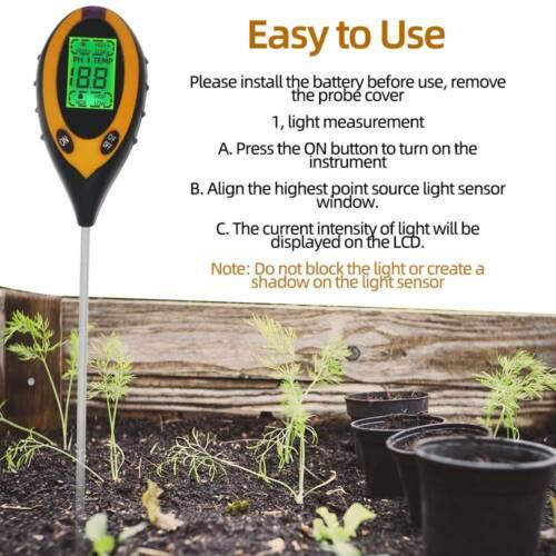 4 in 1 Soil PH Tester Moisture Sunlight Light Test Meter for Garden Plant LBPRE