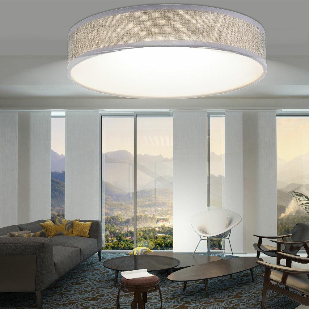LED Decken Lampe weiß Textil Schirm Leuchte grau rund Arbeits Zimmer Strahler