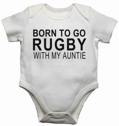 Born To Go Rugby Con Mi Tía-Nuevo Bebé Chalecos Monos Para Niños Niñas Regalo