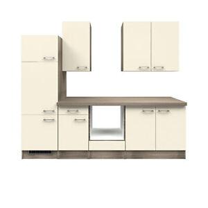 Details zu Küche ohne E-Geräte Küchenzeile Einbauküche ohne Elektrogeräte  270 cm creme