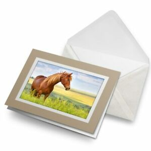 Greetings-Card-Biege-Beautiful-Brown-Horse-Animals-Pony-8395