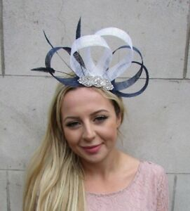 2bf8bc5b92a22 Navy Blue White Silver Feather Fascinator Sinamay Hair Races Wedding ...