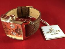 Adee Kaye Mens Automatic Rose Tone Dial Brown Leather Band Watch AK9043-MRG