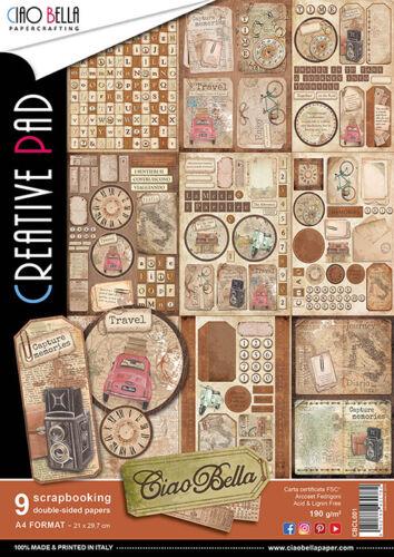 CIAO BELLA-1 SET Scrapbooking Papier-doppelseitig-A4-Ciao Bella-CBCL033