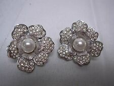 VINTAGE SILVER TONE PAVE RHINESTONE with FAUX PEARL FLOWER CLIP ON EARRINGS