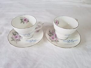 Details about Pair of 25th Wedding Anniversary Duchess English Bone China  Cups And Saucers