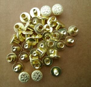 20X 5.5mm Gold Leather Craft Belt Wallet Solid Brass Nail Rivets Chicago Screws