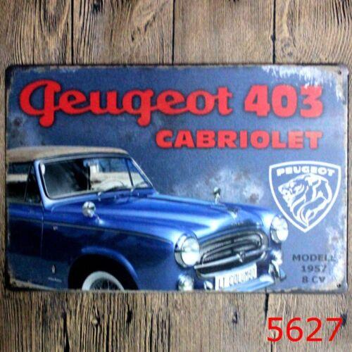 Metal Tin Sign PEUGEOT 403 CABRIOLET Bar Pub Accueil Rétro Vintage Poster CAFE ART