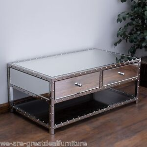 Image Is Loading Living Room Furniture Mirrored Glass Coffee Table W