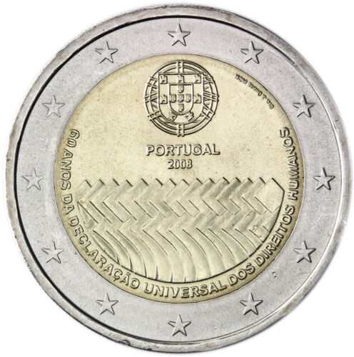 """Portugal 2 euro coin 2008 /""""Human Rights/"""" UNC"""