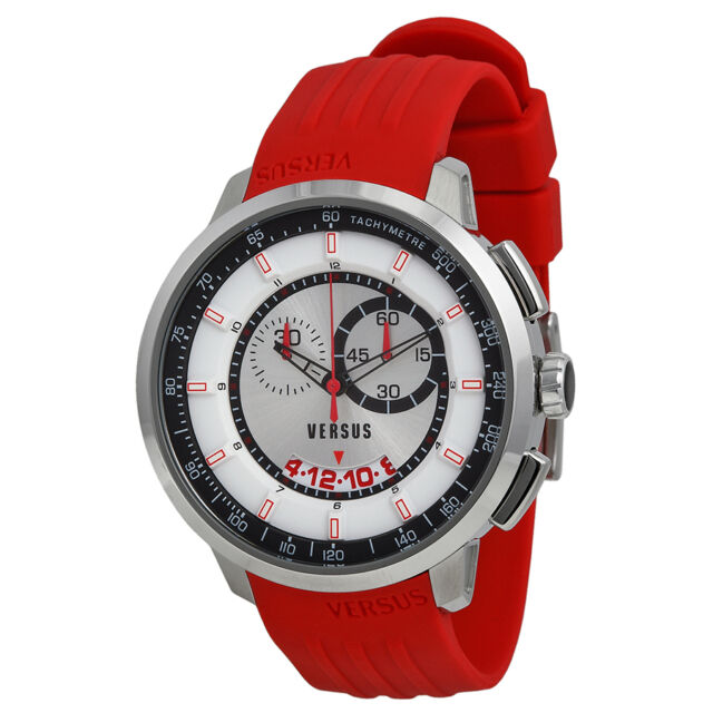 Versus by Versace Manhattan Chronograph White and Black Dial Red Rubber Mens