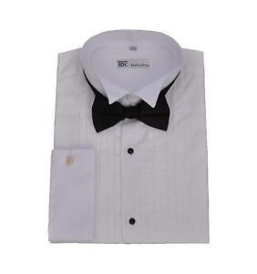 Men 39 s tuxedo dress shirt wing collar and french cuff with for Tuxedo shirt french cuff