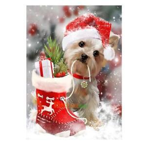 Perro-Navidad-Navidad-5D-Diamante-Bordado-Cross-Stitch-Hagalo-usted-mismo-Craft-Decoracion-De
